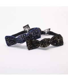 PY677 Navy and Black holiday party ponytail holder