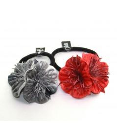 Grey & Burnt flower vintage style hair elastic ponytail holder