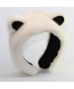 Ivory with Black Panda Earmuffs Fake Fur