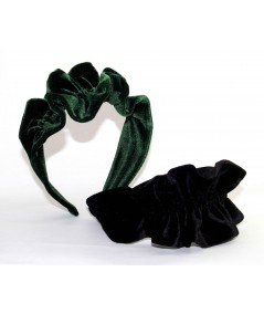 VV43 Bottle Green and Black headband ruffle turban