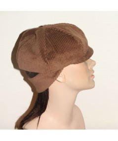 CDH1 Brown Tabac Cordury Newsboy Cap with Back Ear Flap