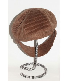 CDH1 Brown Tabac corduroy cap with earflap