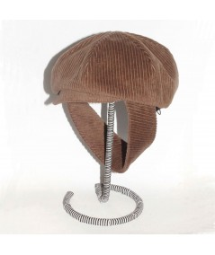 CDH1 Brown Tabac Newsboy Corduroy Cap with Earflap