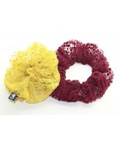 PY746 Yellow Burgundy ponytail holder hair elastic scrunchie