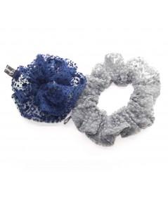PY746 Navy Grey ponytail holder hair elastic scrunchie