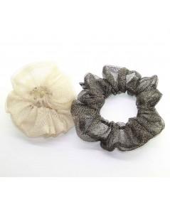 PY747 Gold metallic ponys scrunchie for hair