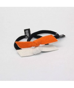 PY749 Tangerine and Off White hair elastic ponytail holder