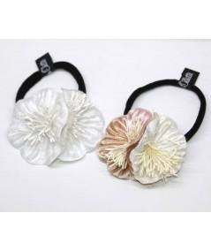 Ivory & Seashell Pearl flower vintage style hair elastic ponytail holder