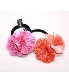 Pink & Orange flower vintage style hair elastic ponytail holder
