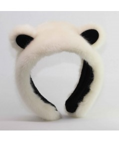 Ivory with Black panda earmuffs