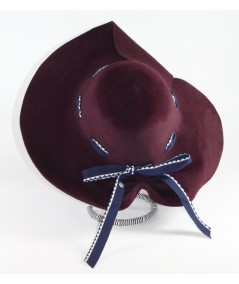 HT682 Wine womens winter hat with ribbon