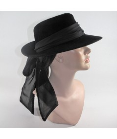 HT681 Black women's fedora with bow