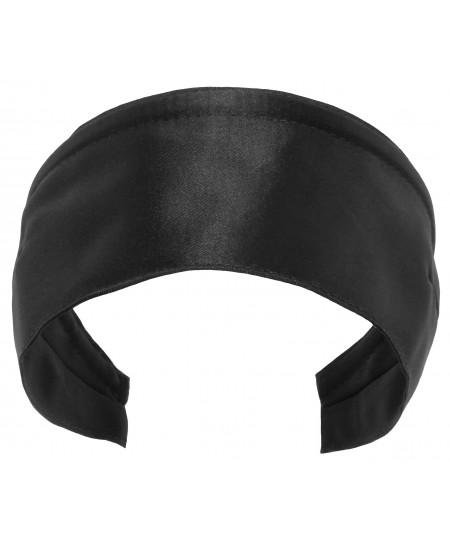 Basic Extra Wide Satin Headband - Black