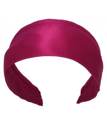 Basic Extra Wide Satin Headband - Fuchsia