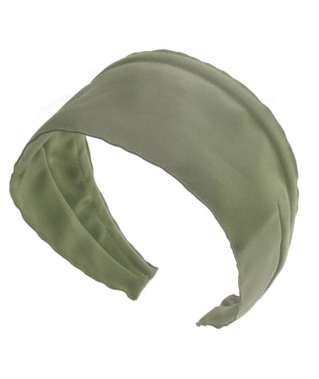 Basic Extra Wide Satin Headband - Khaki
