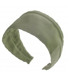 Basic Extra Wide Satin Headband - Khaki