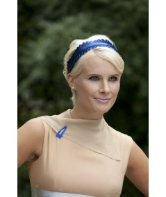 Satin Hair Clip - Electric Blue (on collar of dress)