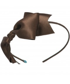 Satin Bow Headband - Brown