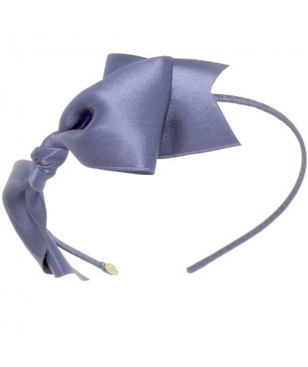 Satin Bow Headband - Pigeon