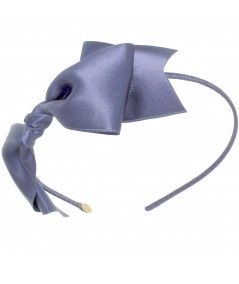 Satin Bow Headband - Pigeon