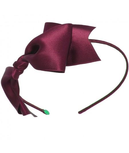 Satin Bow Headband - Wine