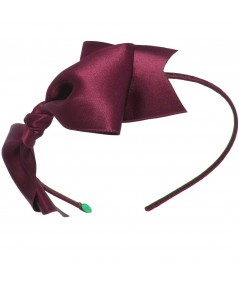 Satin Bow Headband - Wine