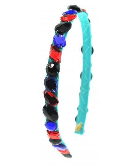 Gem Headband - Multi colored on Black