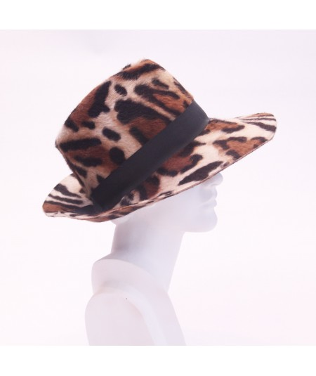Bianca Animal Print Felt fedora Hat Trimmed with Black Grosgrain Band