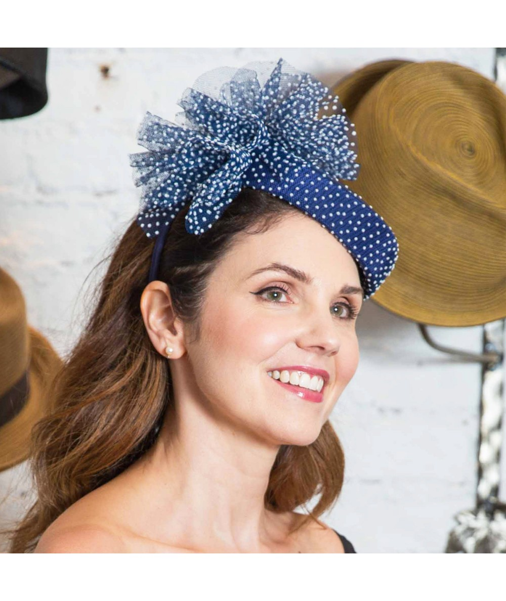 Navy with White Dotted Tulle Headpiece