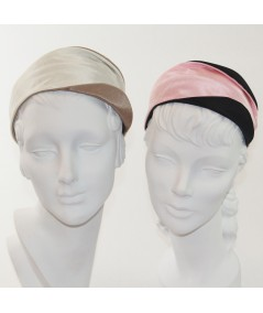 Ivory-Pecan and Pale Pink-Black bengaline-wide-headband-with-contrast-detail