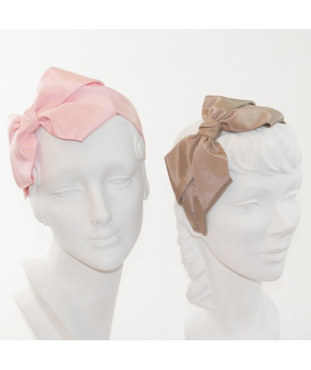 Pale Pink - Pecan Bengaline Side Bow Headband Black
