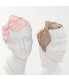 Pale Pink - Pecan Bengaline Side Bow Headband Black