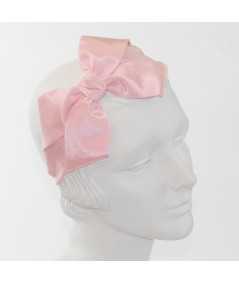 Pale Pink Bengaline Side Bow Headband Black