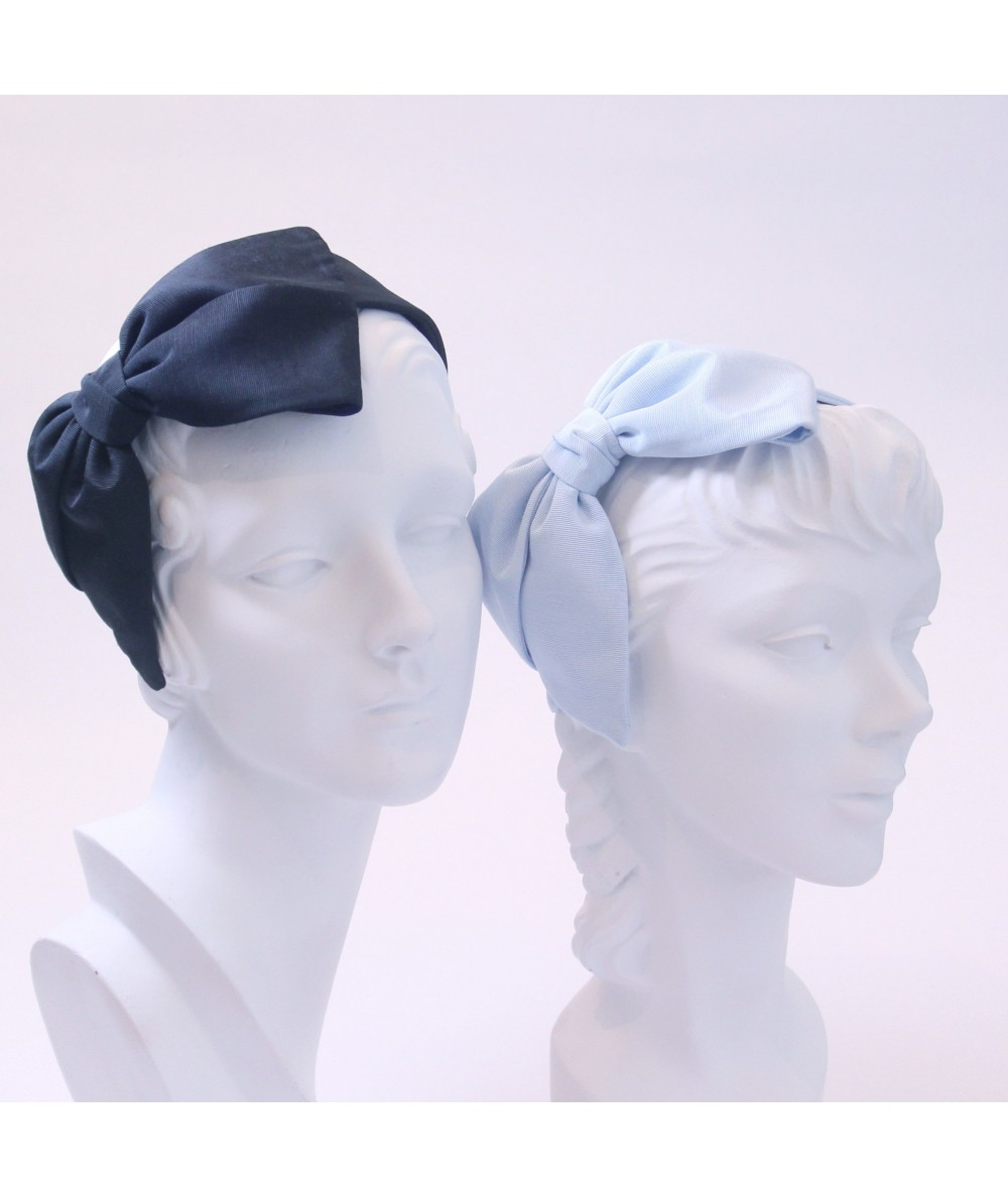 Black Pale Blue Bengaline Large Bow Headband