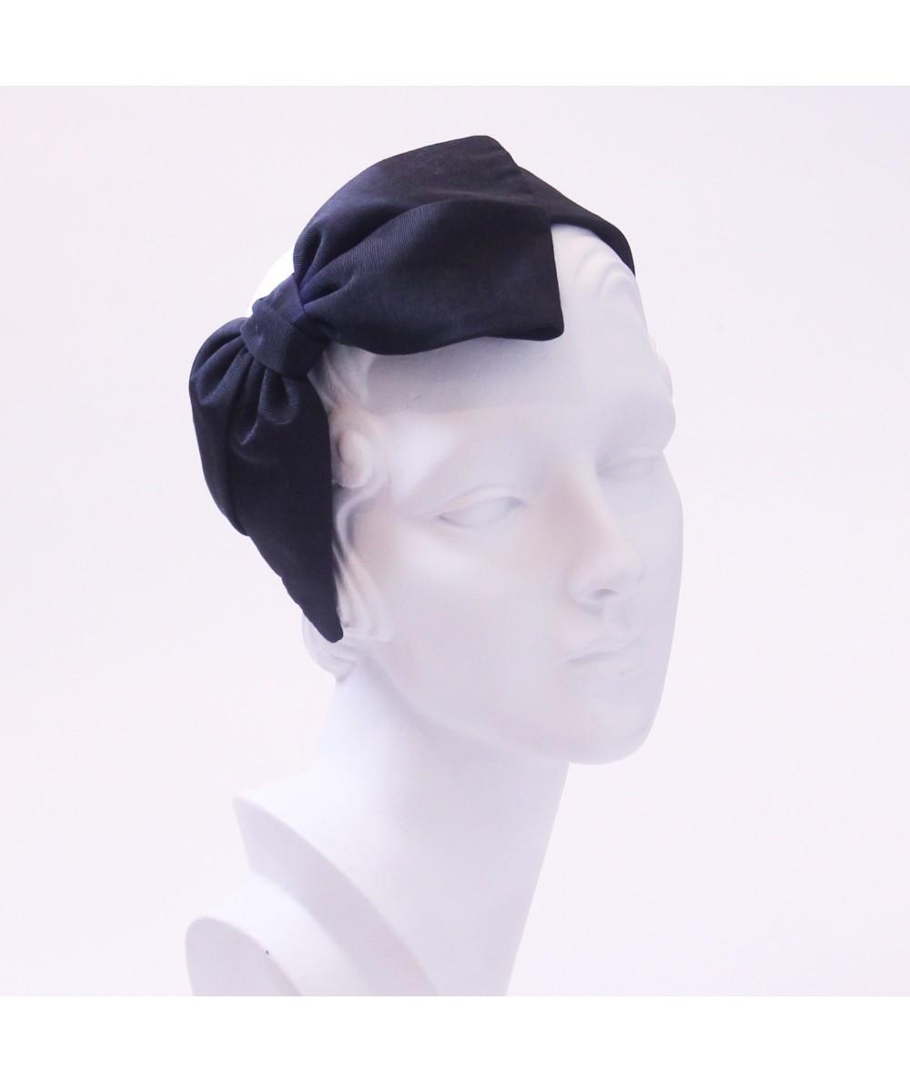 Black Bengaline Large Bow Headband