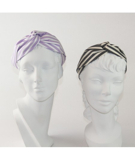 Lavender/White Charcoal/Cream Cotton Stripe Turbanista