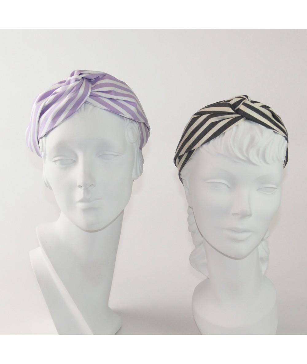 Lavender/White Charcoal/Cream Cotton Stripe Turbanista