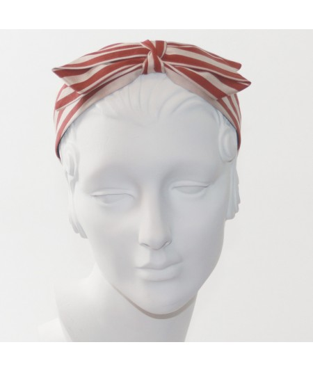 Beige/Burnt Cotton Stripes Center Bow Headband
