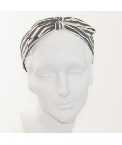 Cream/Charcoal Cotton Stripes Center Bow Headband