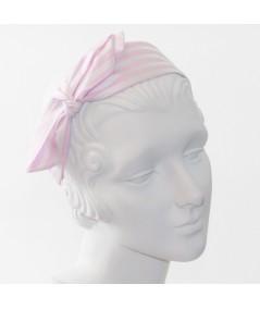 Pink/White Cotton Stripe Side Bow Headband