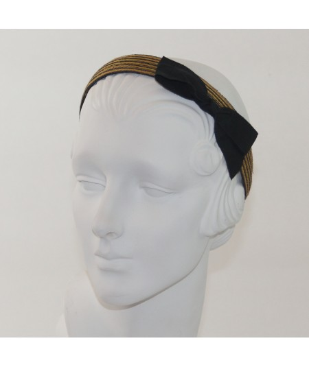 Constellations Colored Stitch Straw with Black Grosgrain Bow Headband