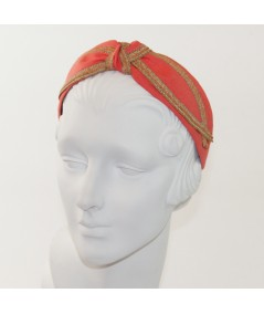 Coral Linen with Wheat Straw Turban Headband by Jennifer Ouellette