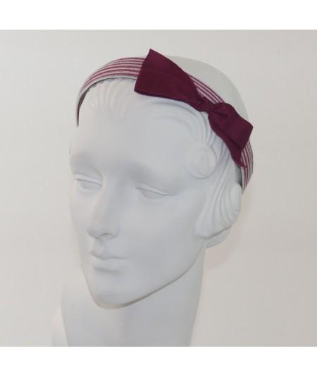 Lupe Colored Stitch Straw with Dark Fuchsia Grosgrain Bow Headband