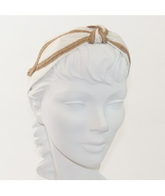 Ivory Linen with Wheat Straw Turban Headband by Jennifer Ouellette