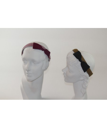 Colored Stitch Straw with Grosgrain Bow Headband