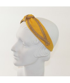 Marigold Linen with Wheat Straw Turban Headband by Jennifer Ouellette