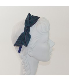 Armour Colored Stitch Straw Bow on Grosgrain Headband