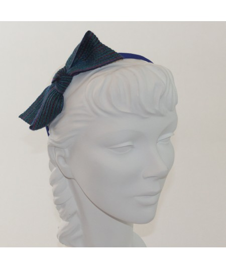 Armour Colored Stitch Straw Bow on Grosgrain Headband