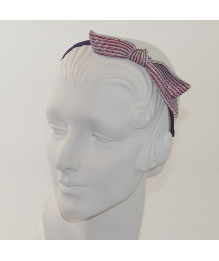 Lupe Colored Stitch Straw Bow on Grosgrain Headband