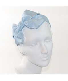 Alice Blue Bengaline Covered with Alice Blue Veiling Side Bow Headband